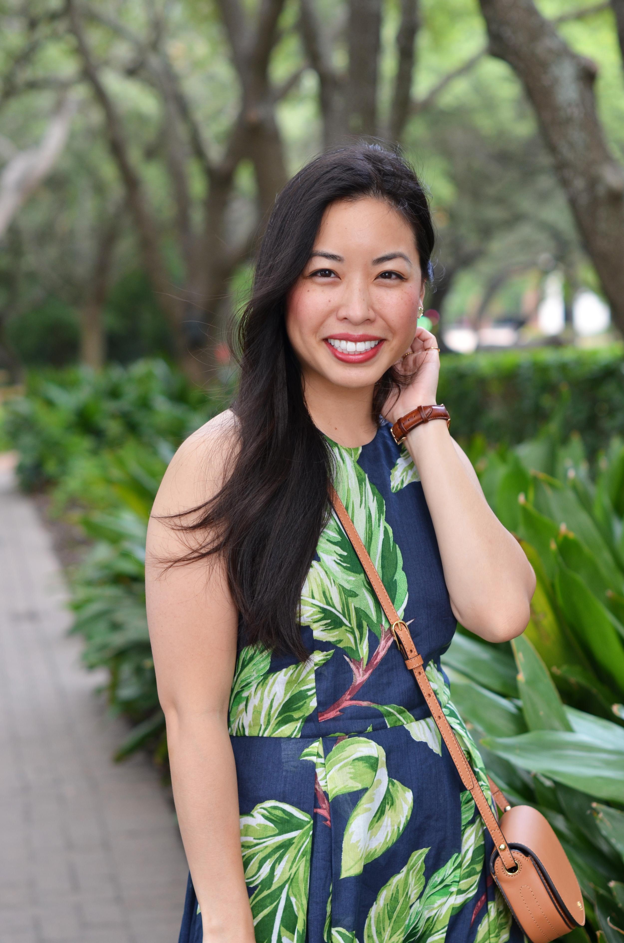 leaf print halter dress -- jannadoan.com