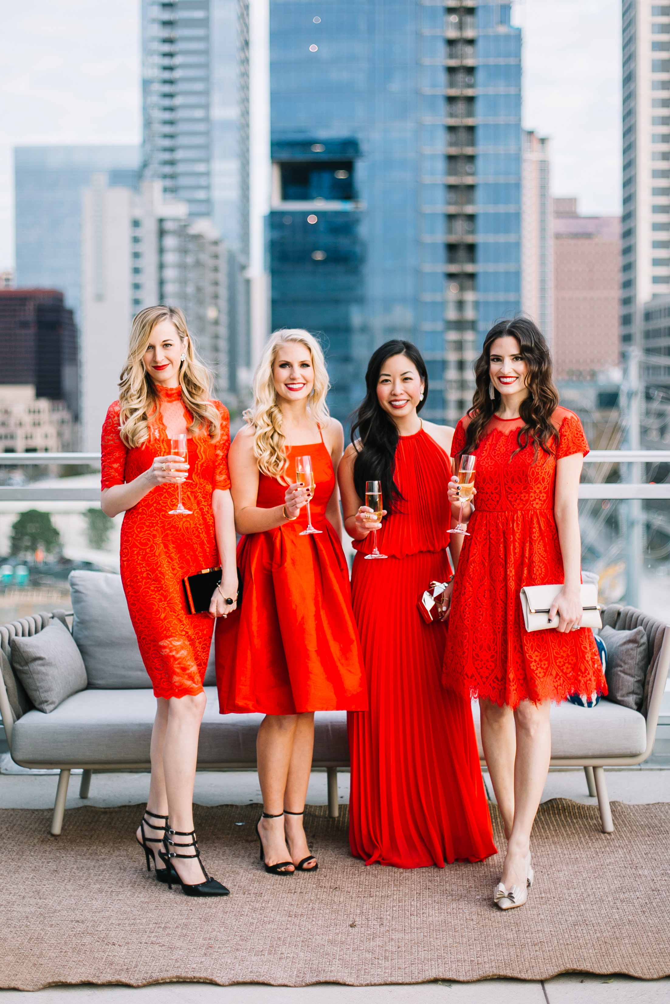 ladies in red.  @heykailymae  //  @thetrendytomboy  // JD //  @stylebeacon