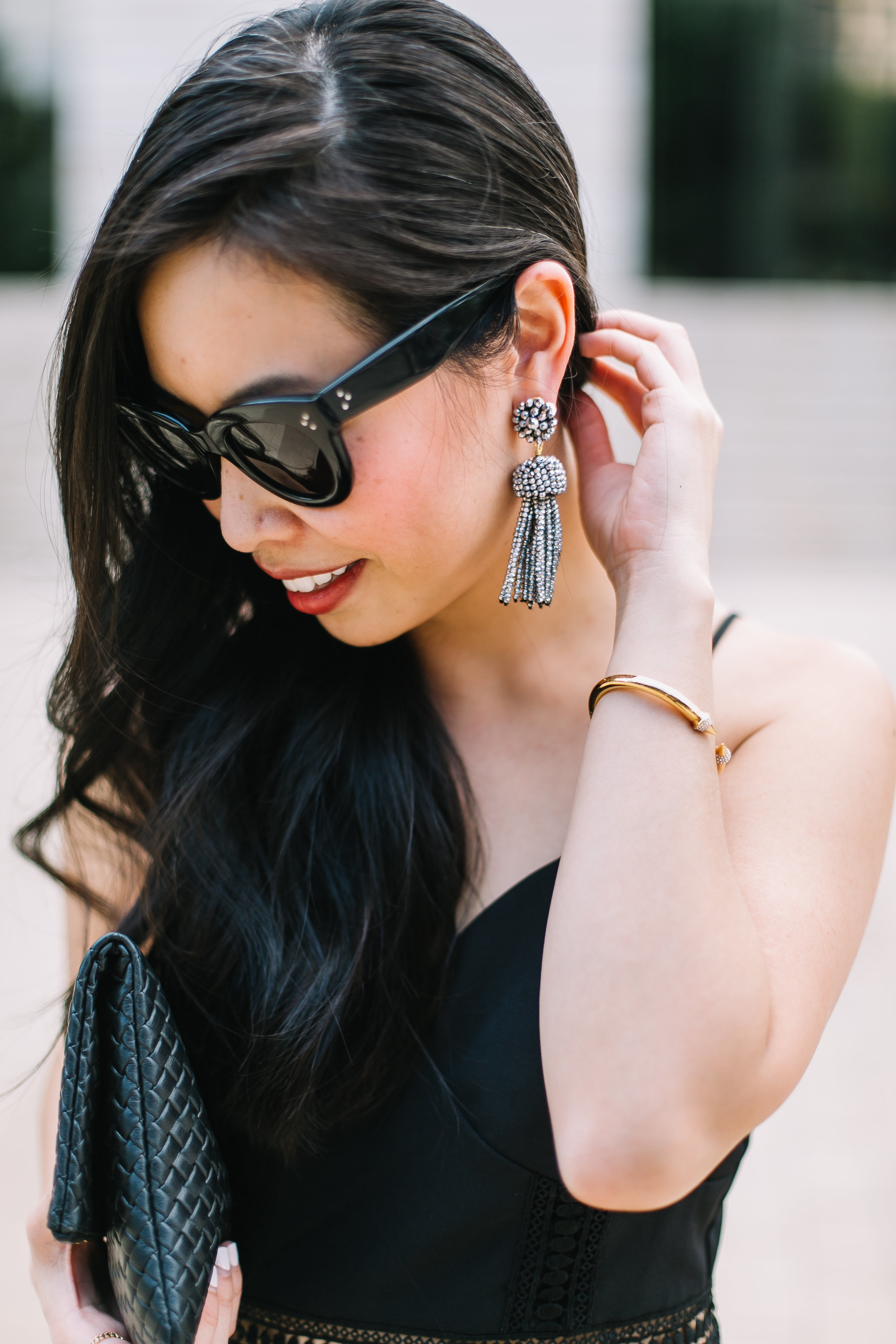 these Lisi Lerch tassel earrings went PERFECTLY with this  #LBD!