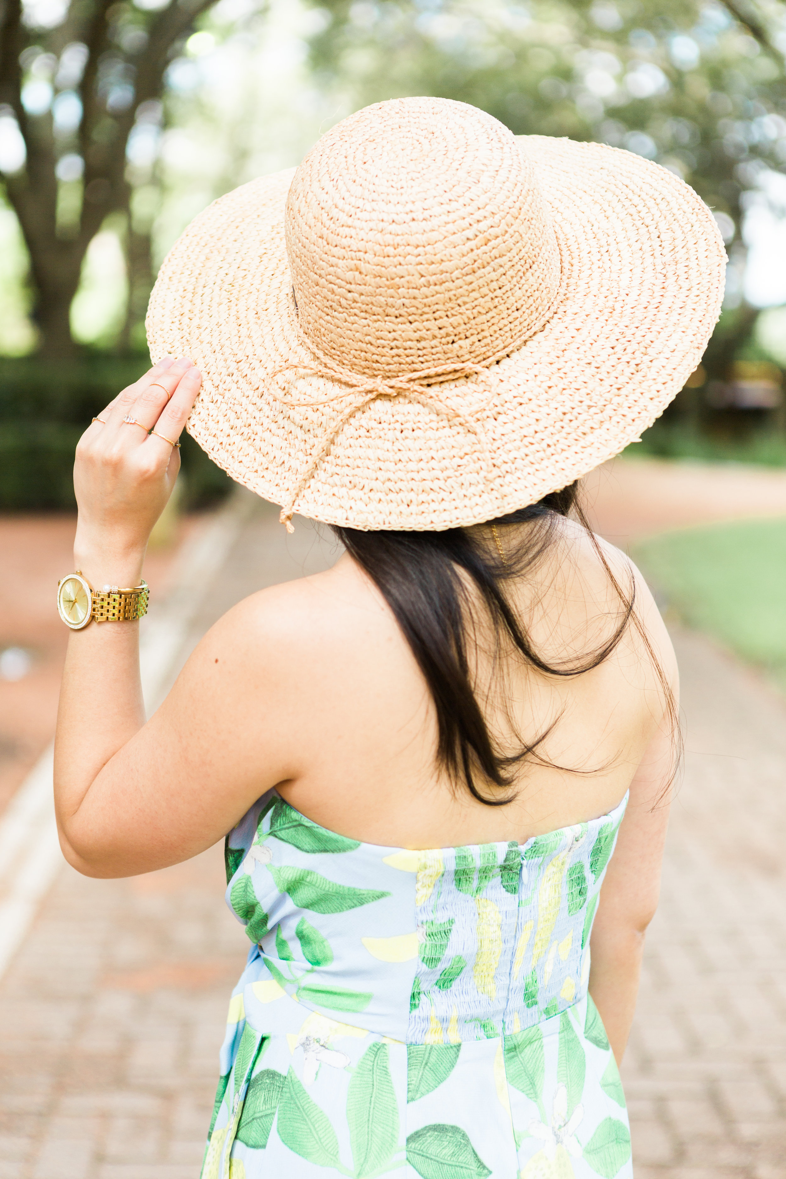 the lemon print jumpsuit & straw hat -- jannadoan.com