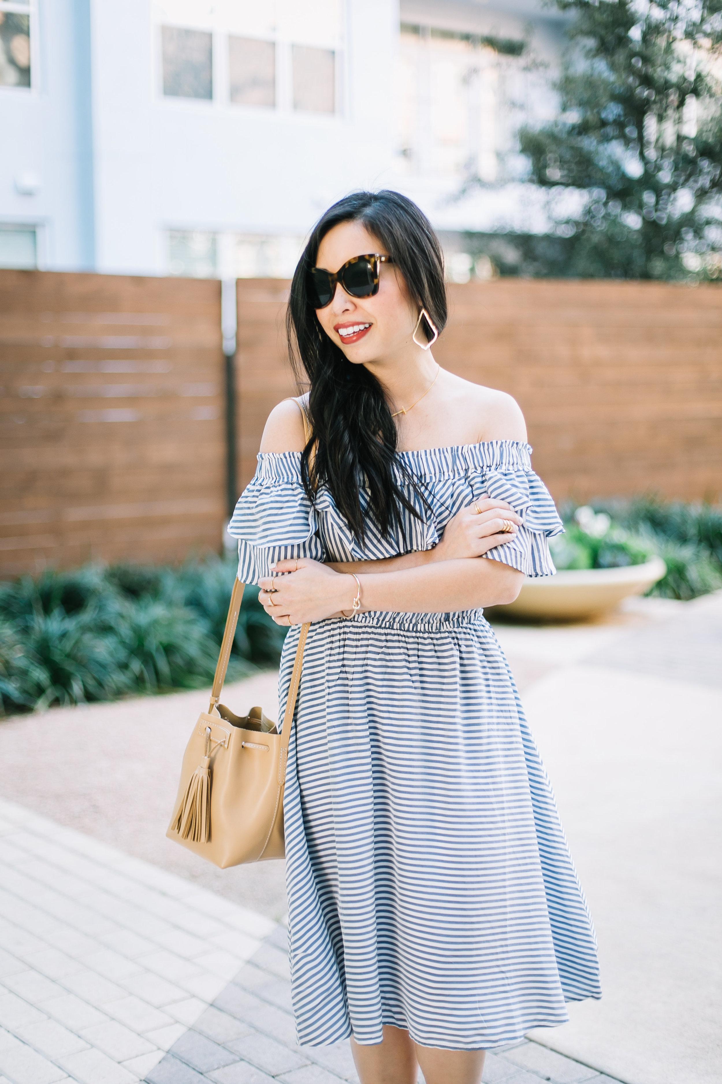 the striped off the shoulder dress -- jannadoan.com