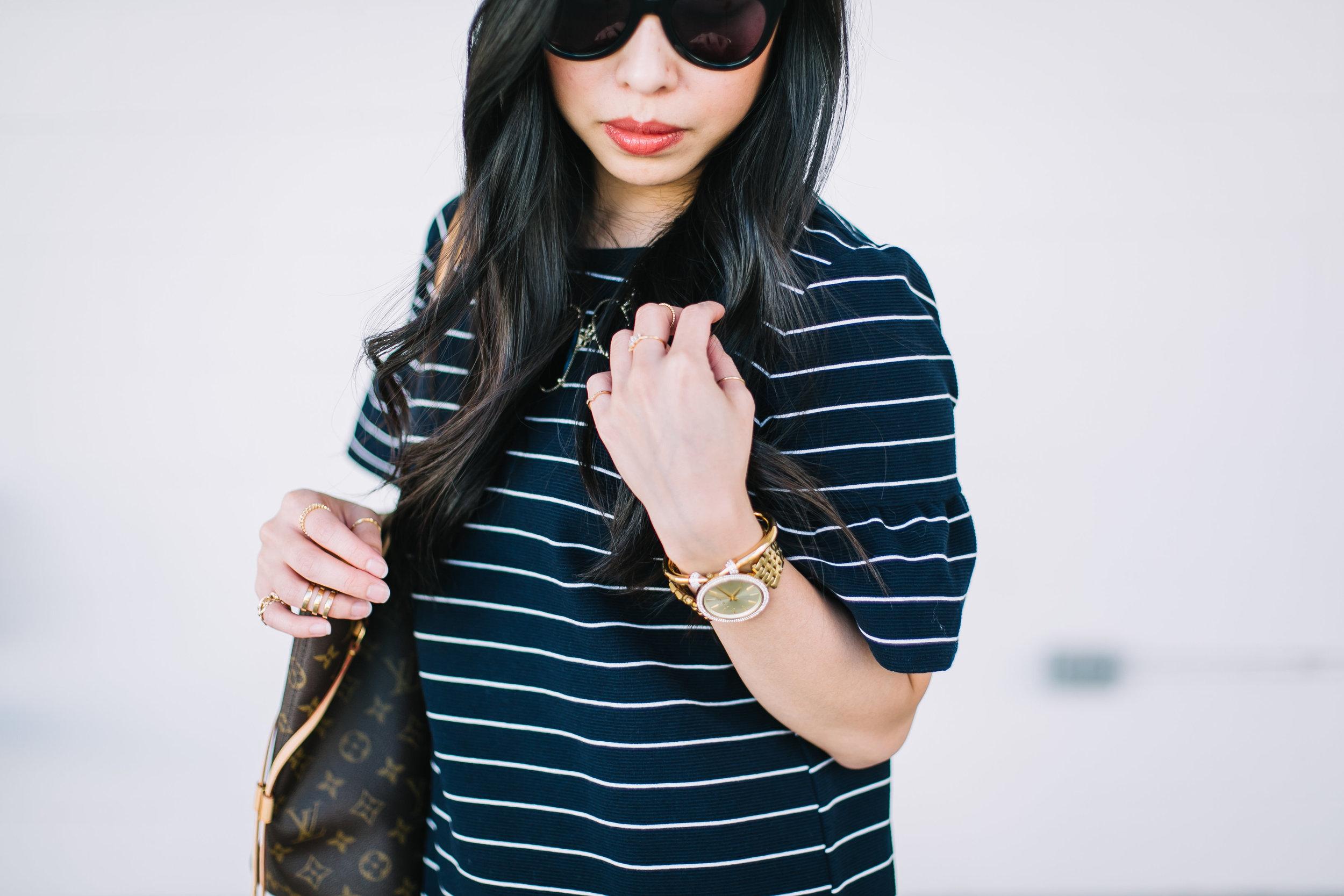 the striped short bell sleeve dress -- jannadoan.com