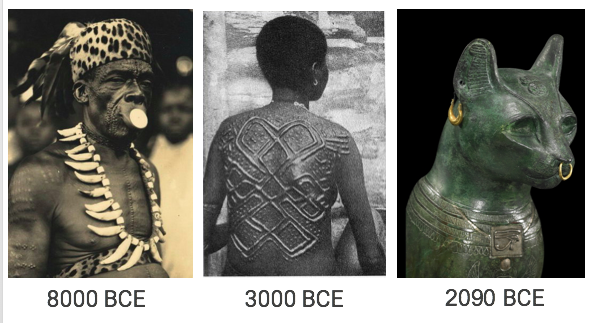 Lip disks, scarification & piercings have been practised for millennia