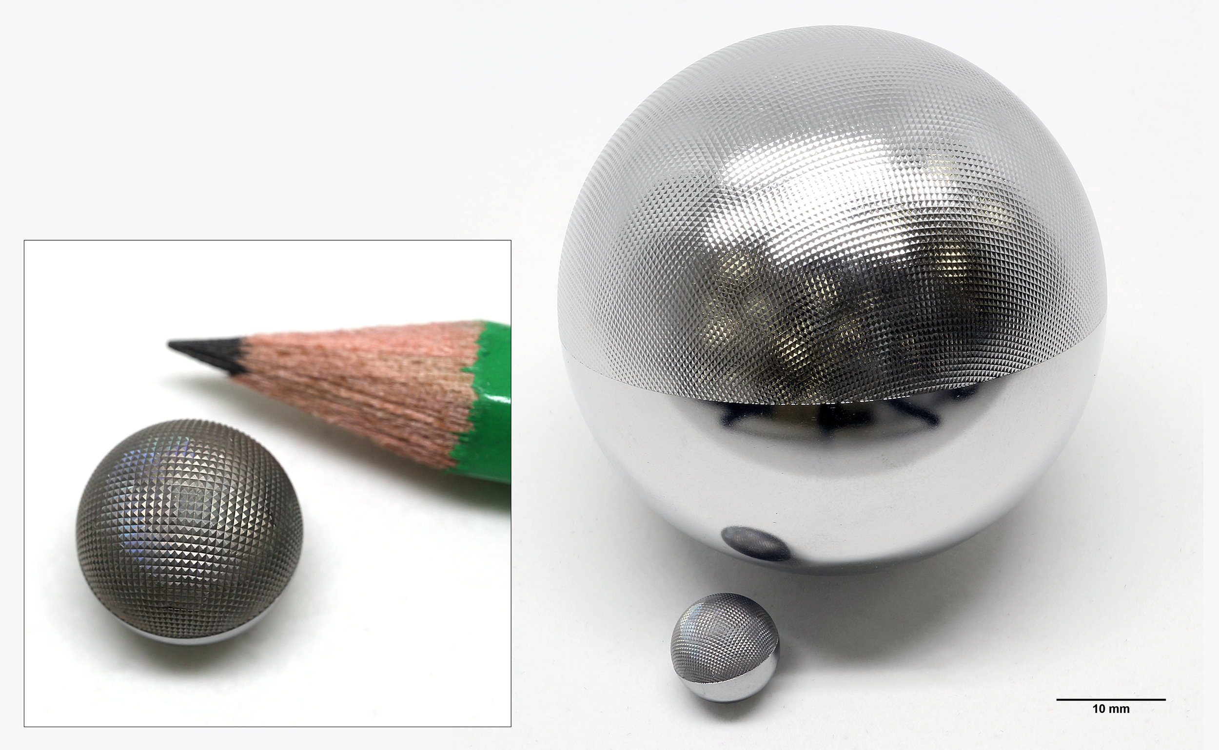A 10 mm diameter steel ball with a pyramid texture (0.2 × 0.2 mm raster, 100 μm high) directly after laser texturing. Behind that a 50 mm diameter steel ball with a negative pyramid texture (0.5 × 0.5 mm raster, 40 μm deep), after laser texturing and successive electropolishing.