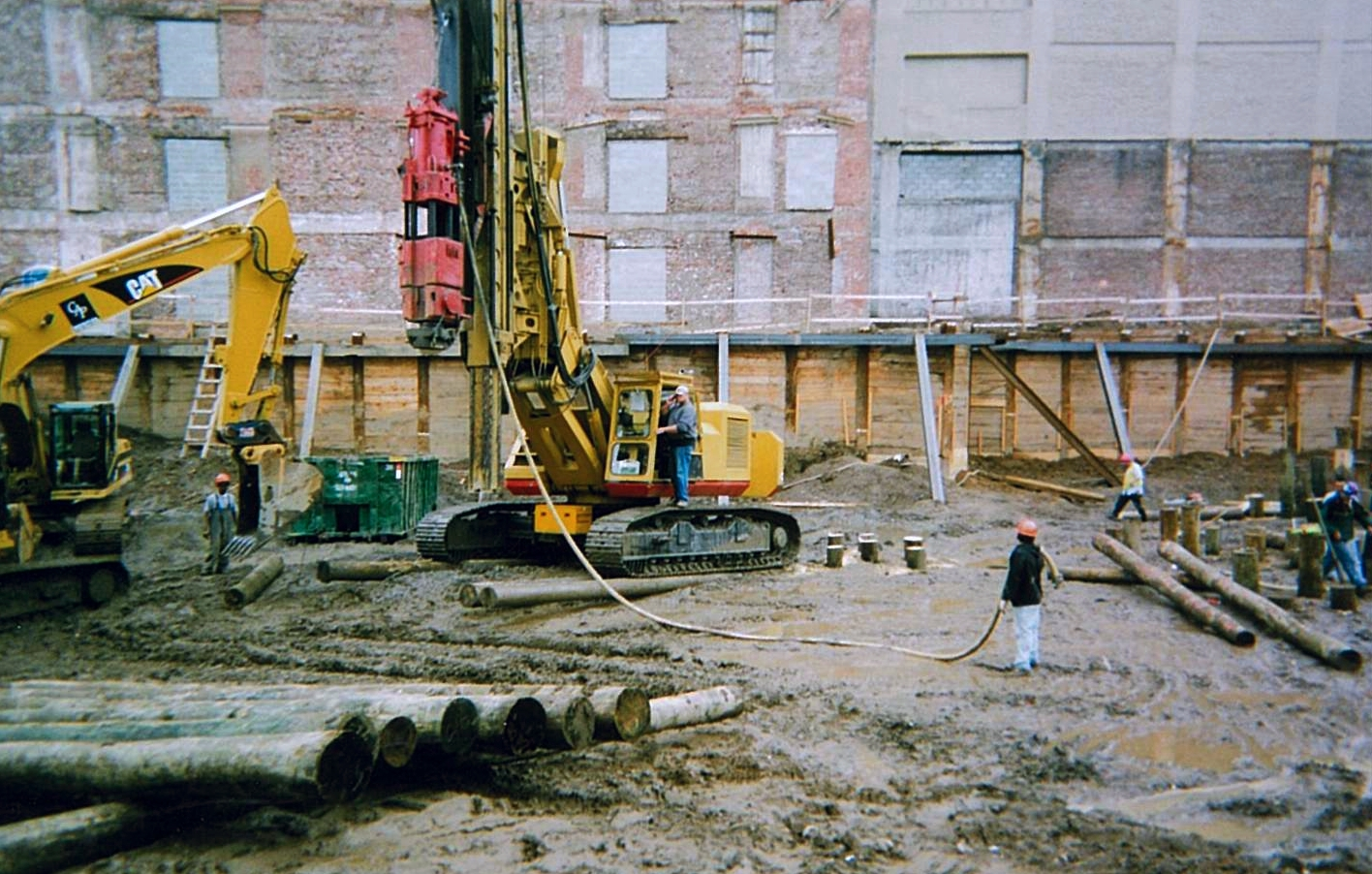 Drilled Shoring Wall Next to Adjacent Building