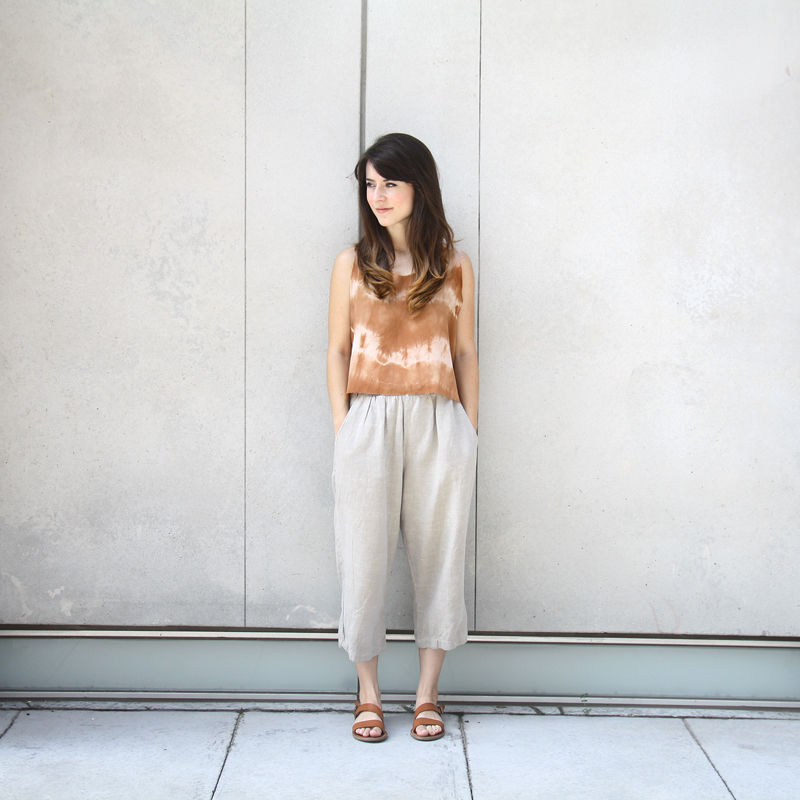 Handmade silk tank dyed with cutch, thrifted linen trousers, Madewell sandals (  similar  )