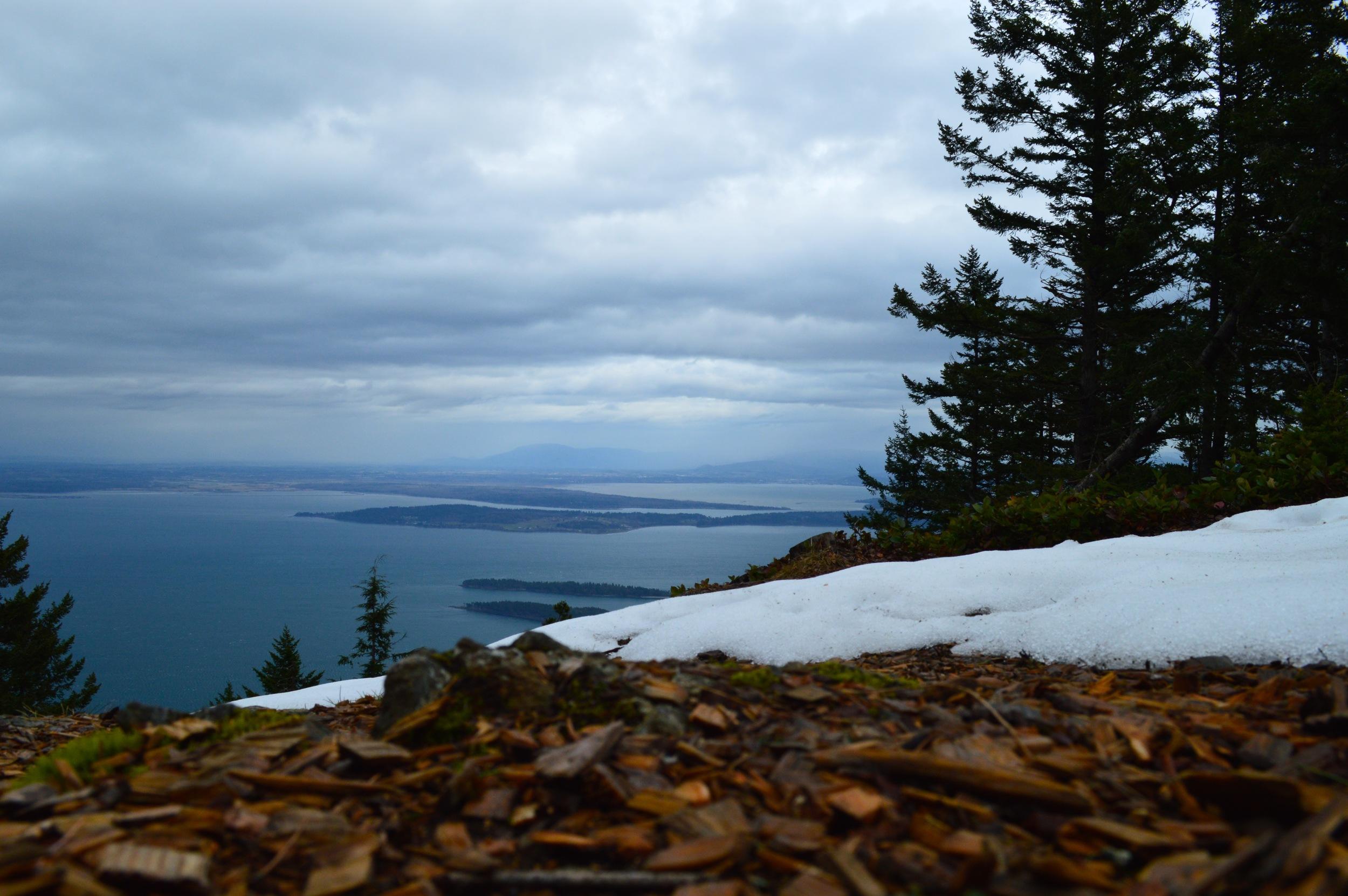 Snow remains atop Mt. Constitution