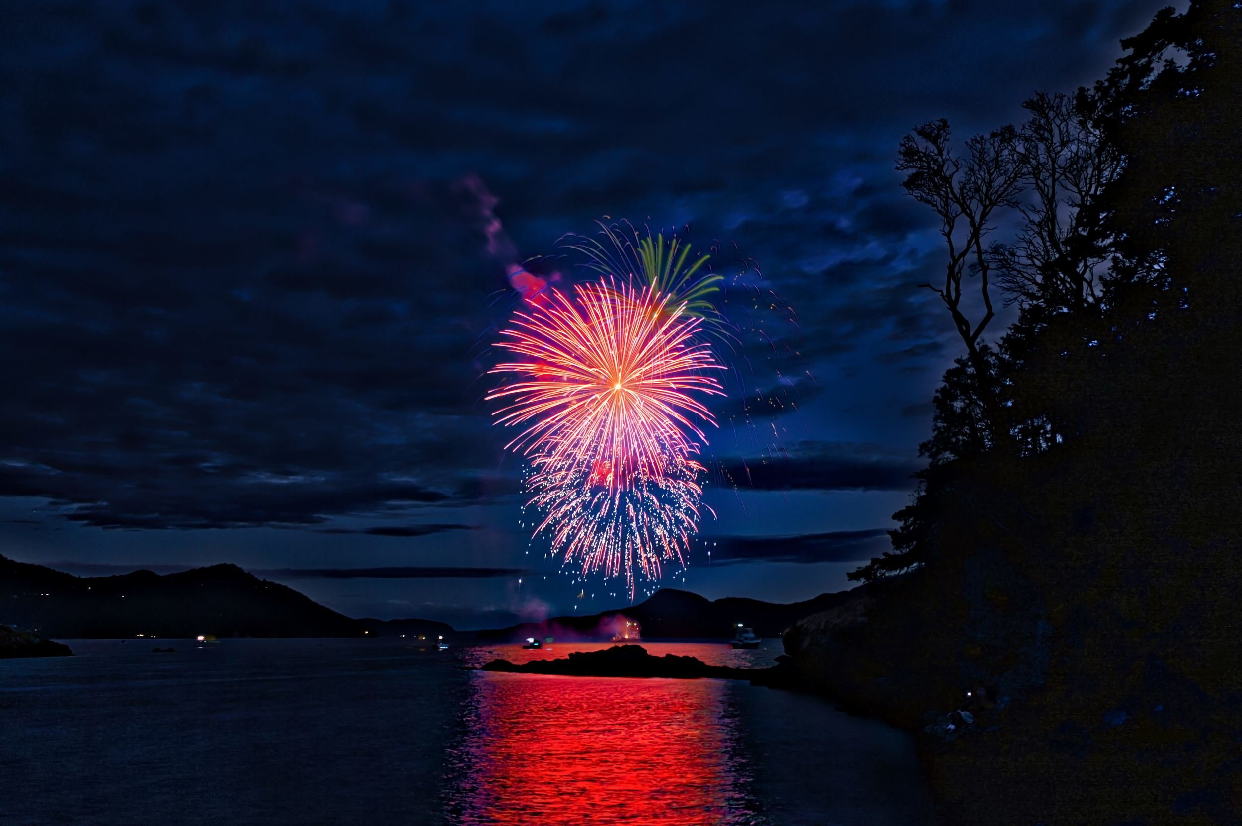 Fireworks in Eastsound on Orcas Island, July 4th.