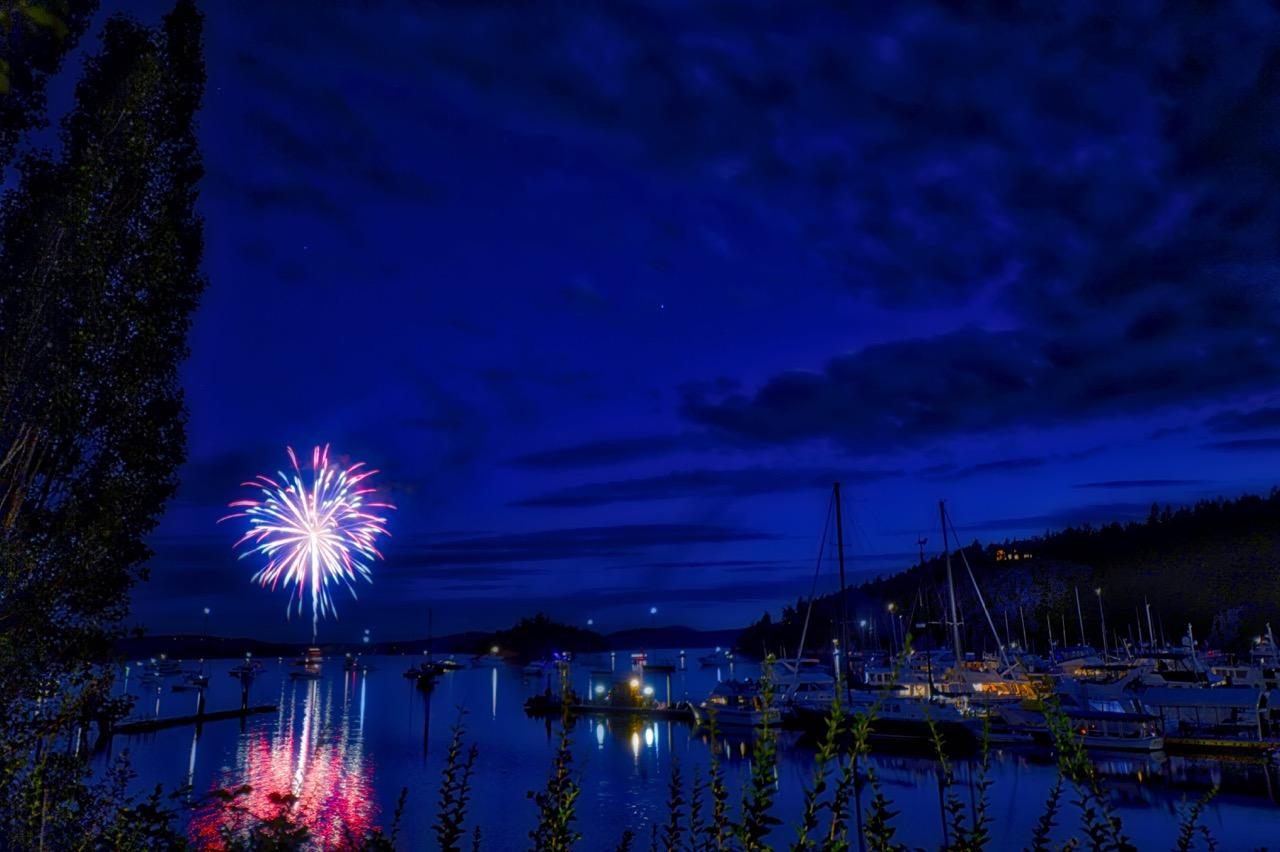 3rd of July Fireworks in Deer Harbor, Orcas Island, Washington.