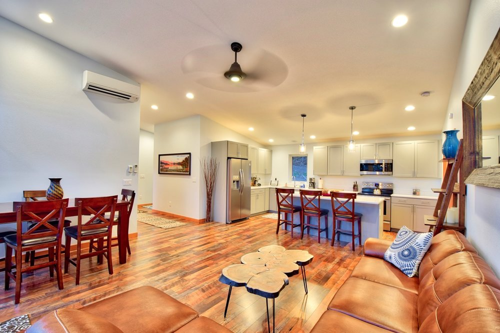 Quality furnishings and finishes with the open floor plan from living to kitchen.