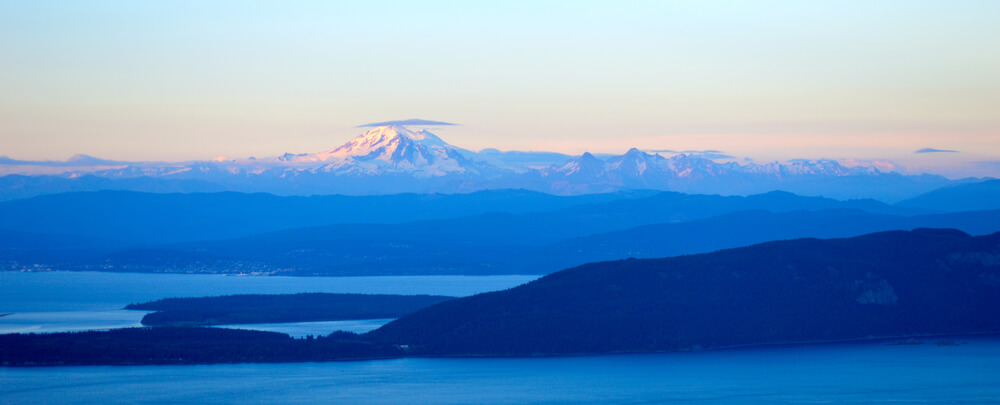A view of Mt. Baker from the top of Mt. Constitution in Moran State Park