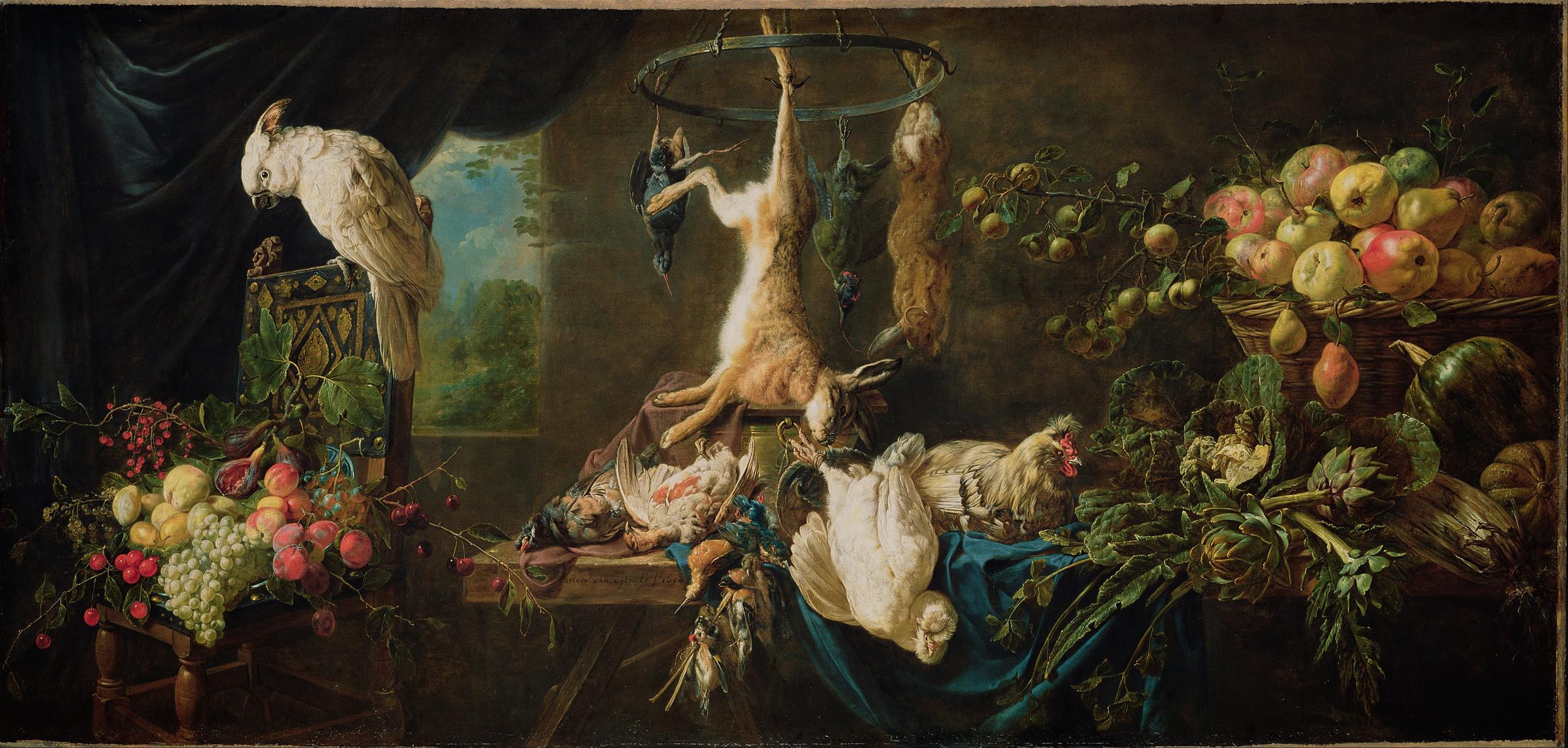 Adriaen van Utrecht,   Still Life- Game, Vegetables, Fruit, Cockatoo, 1650