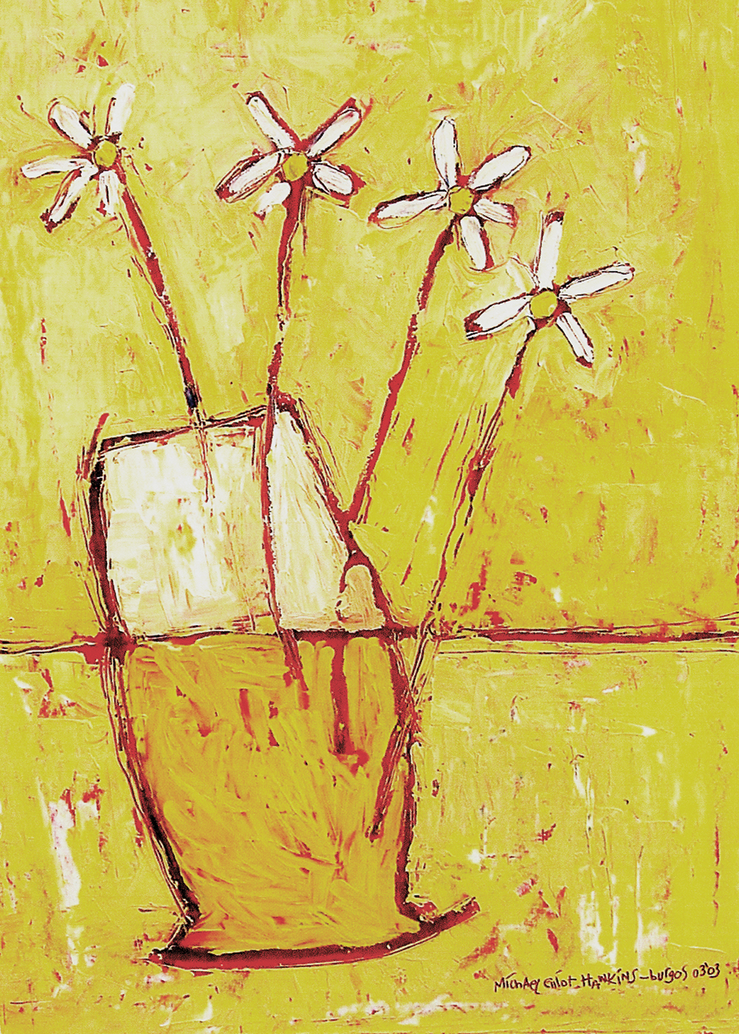 Daisies in Yellow<br> <br>oil on paper<br>SOLD
