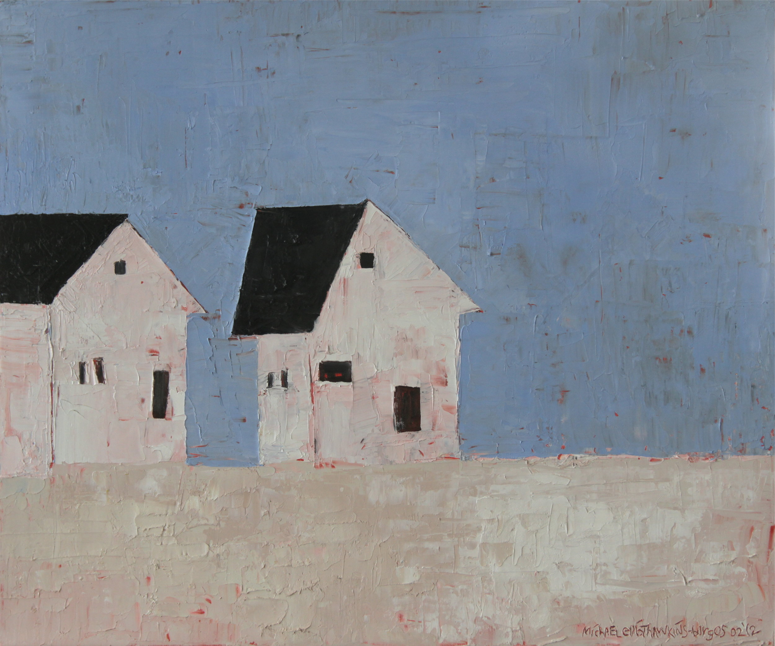 Two Houses<br> <br>oil on canvas