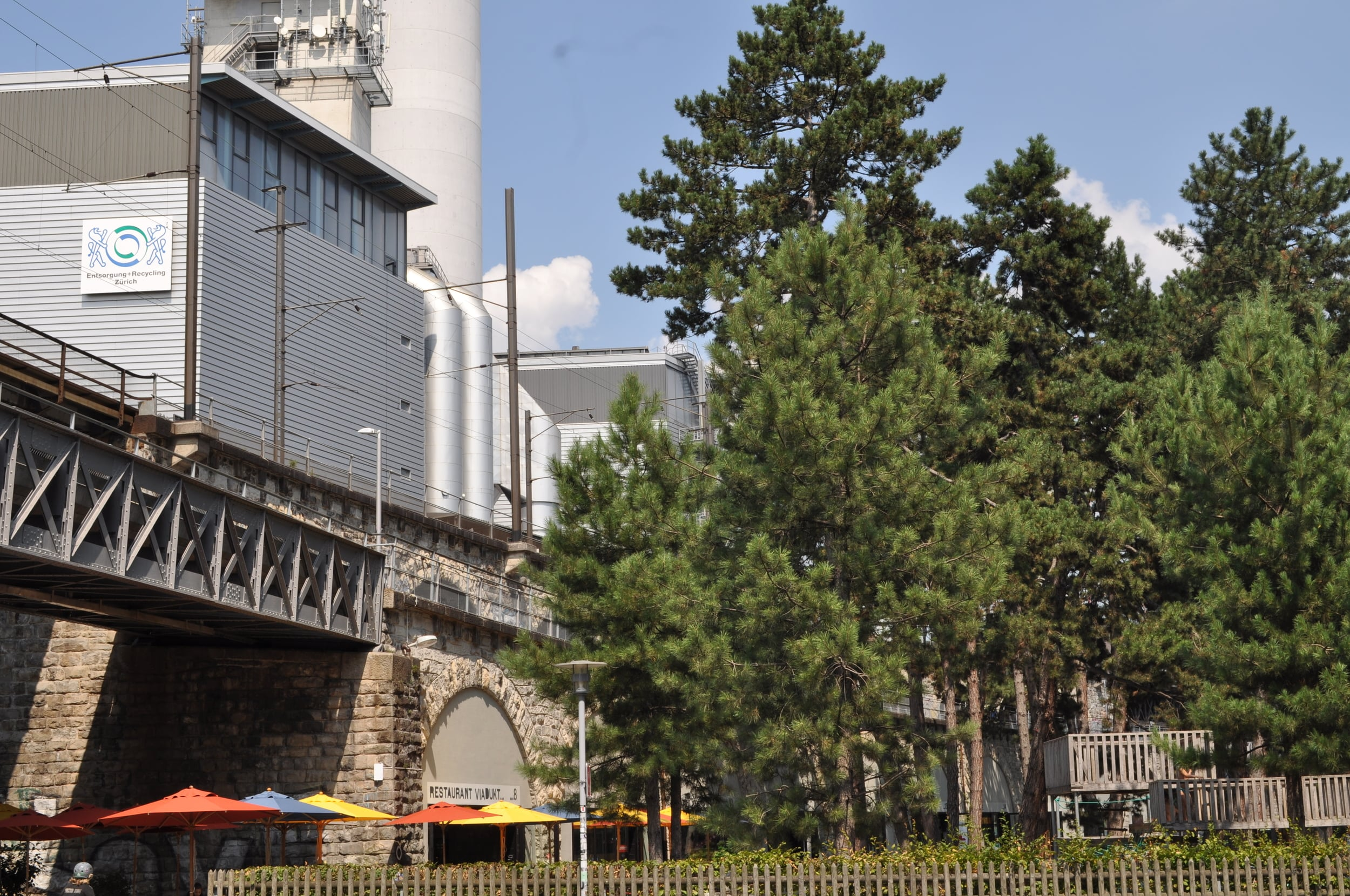Behind the Josefswiese Park and several restaurants is a waste to energy plant. Photo: Pamy Rojas