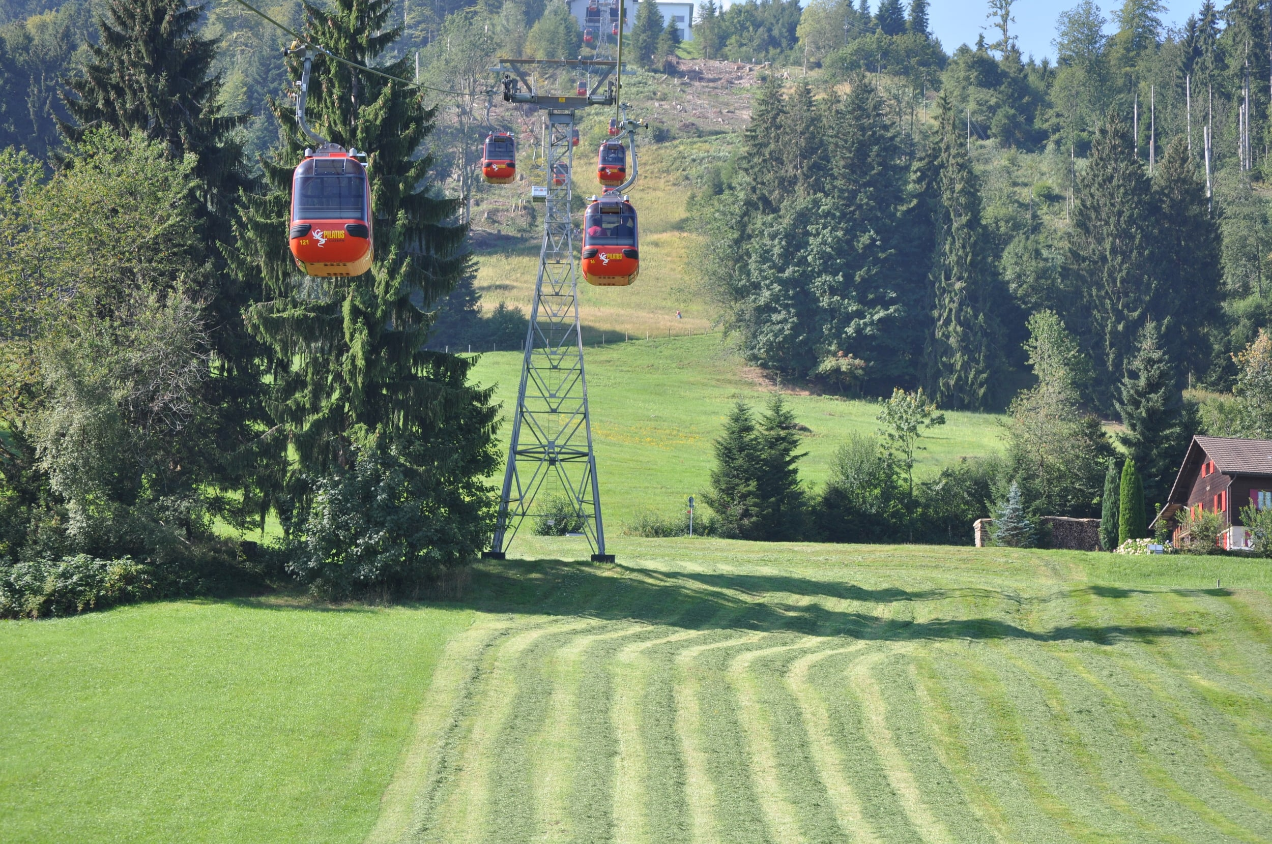 Going up to Mount Pilatus in cable cars. Photo: Pamy Rojas