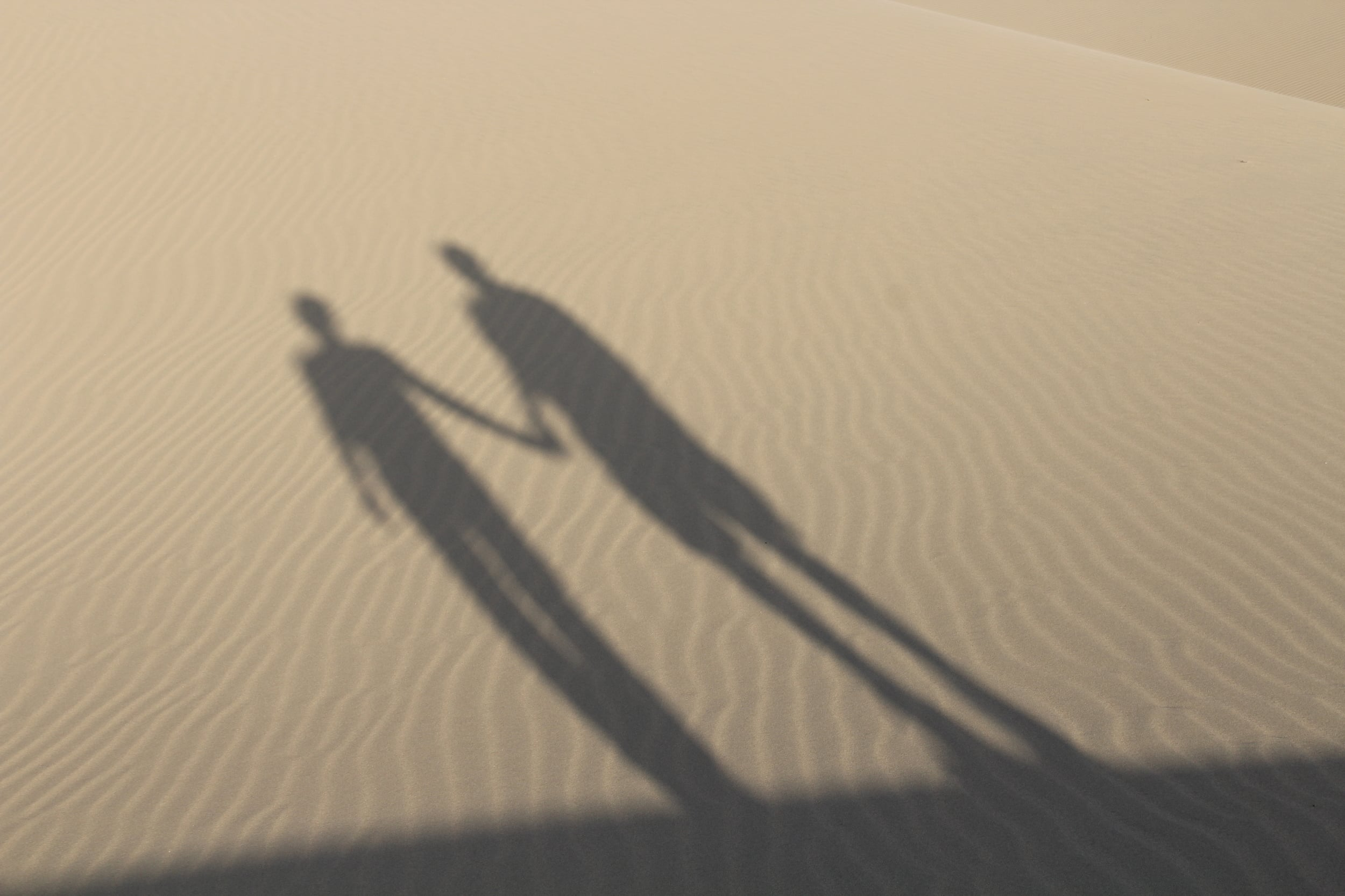 Our shadows in the immensity of the desert. Photo: Mario Vera
