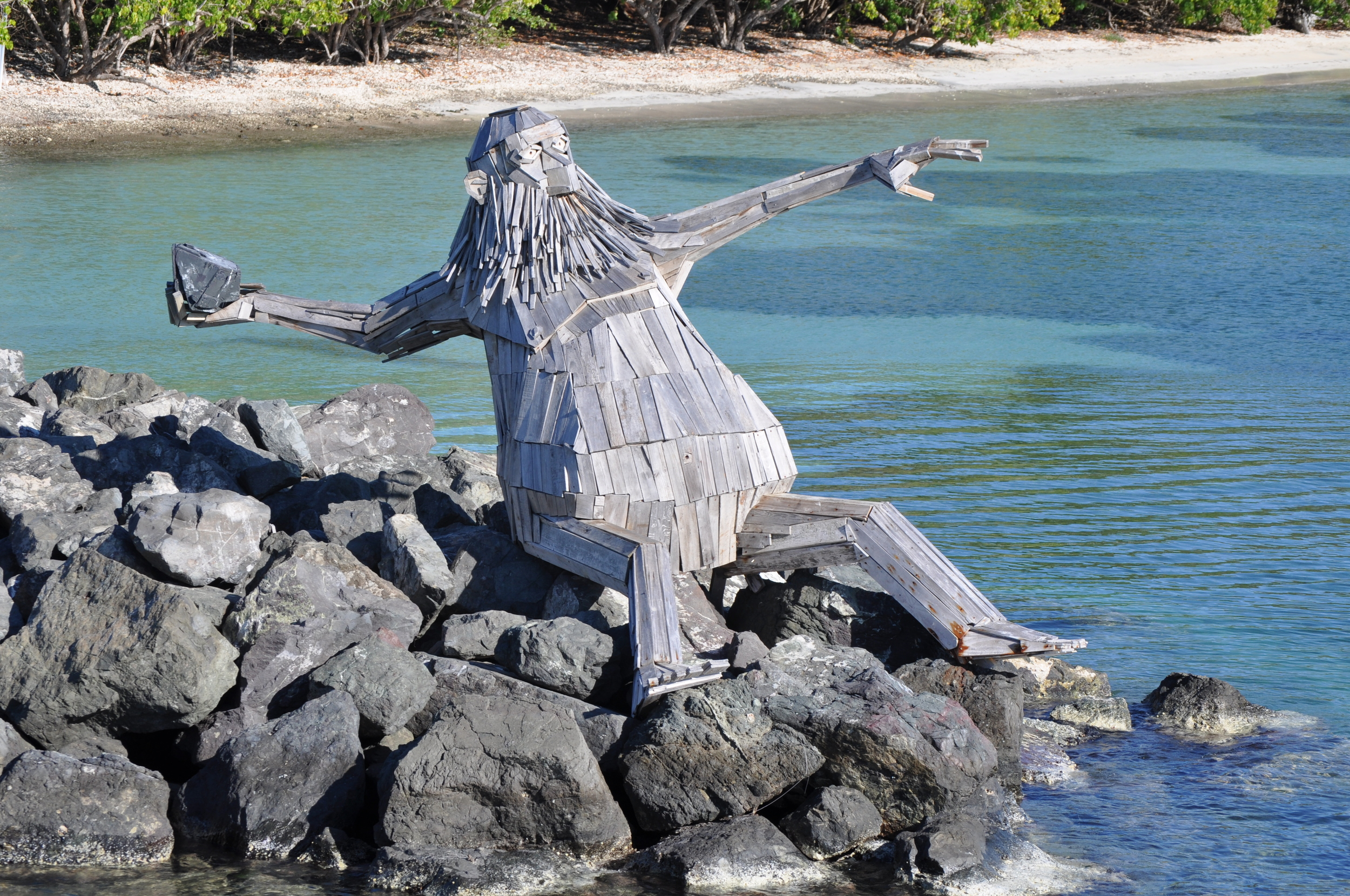 """The wooden art piece called Hector """"The Protector"""" was the contribution of artist Thomas Dambos to the Culebra Es Ley art festival. Photo: Pamy Rojas"""
