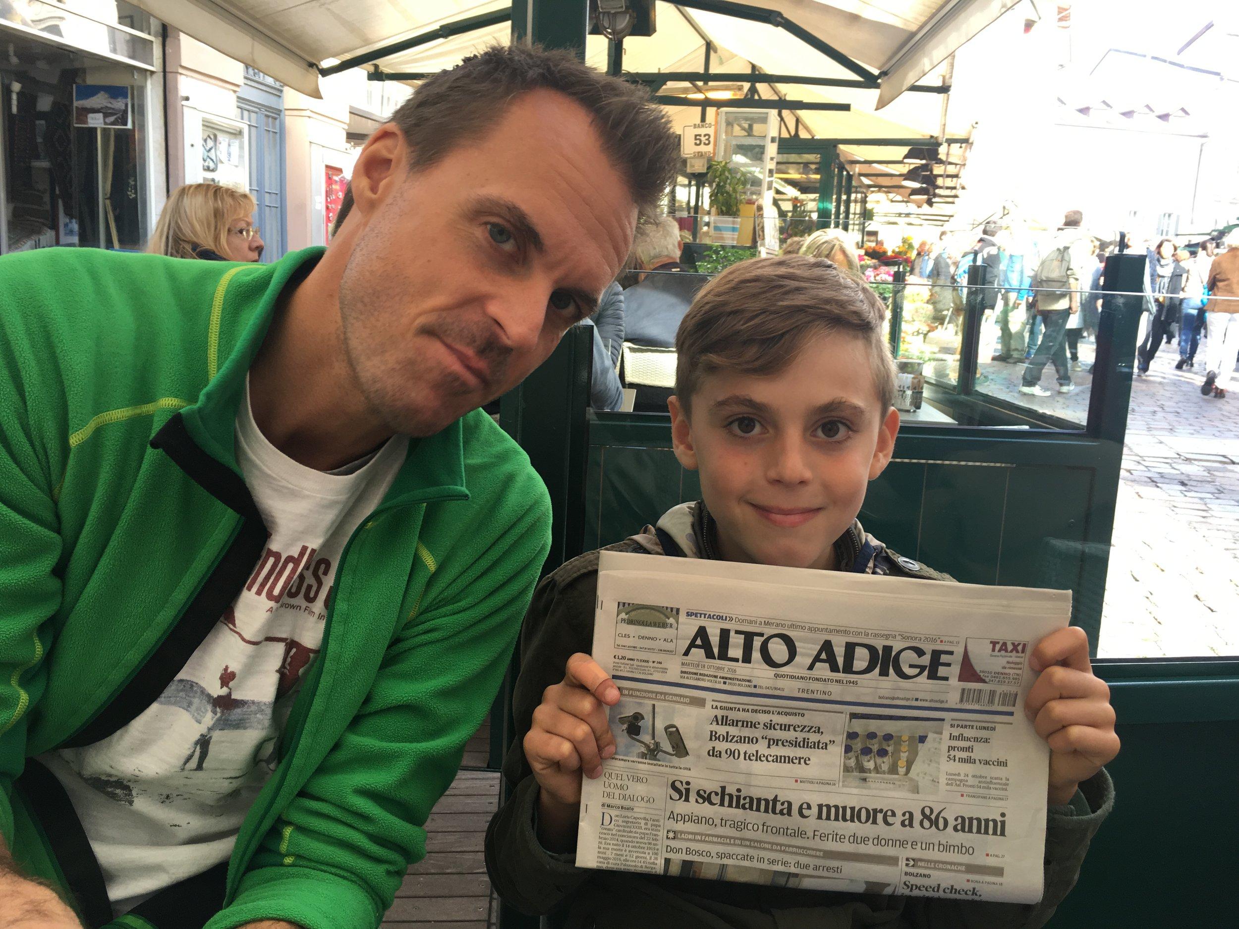 El periódico de la región es en italiano, aunque durante nuestra visita sólo encontré a una persona que no entendía alemán.
