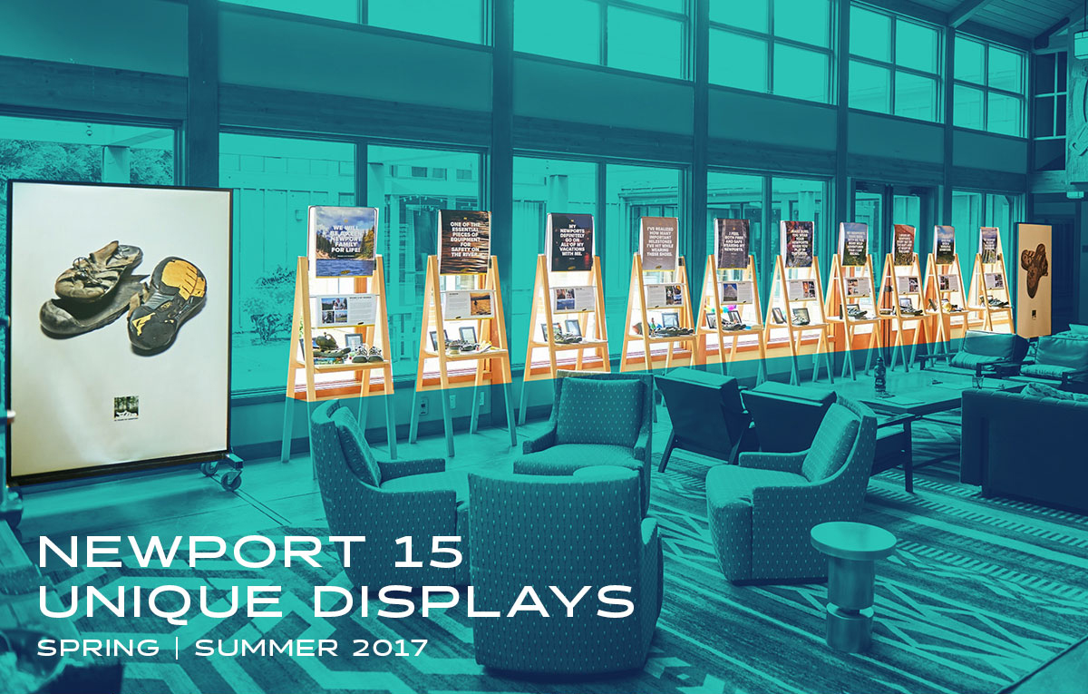 For the summer sales meeting, to announce the launch of the Newport 15 Year Celebration campaign, I designed the display system that would tell a curated story for several long time Keen fans. This display was used as an introduction to the event, as well as connected into the product room displays.