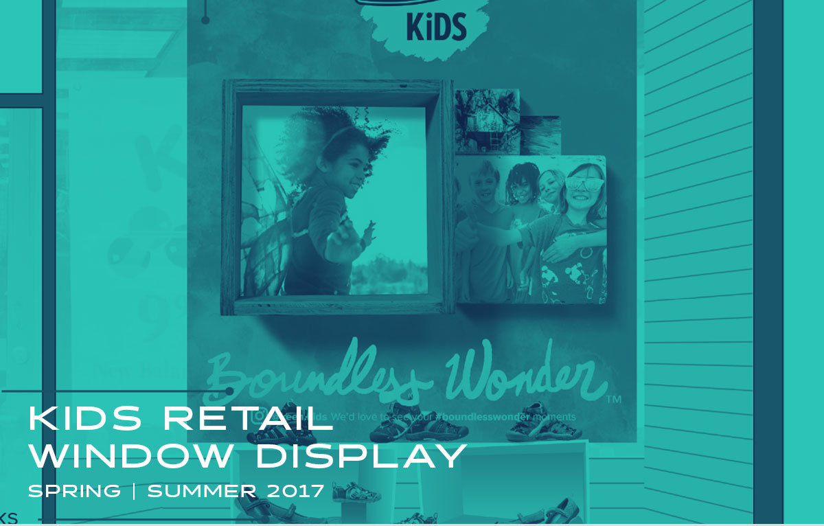 Window display designed for a small Kids specialty shoe store.