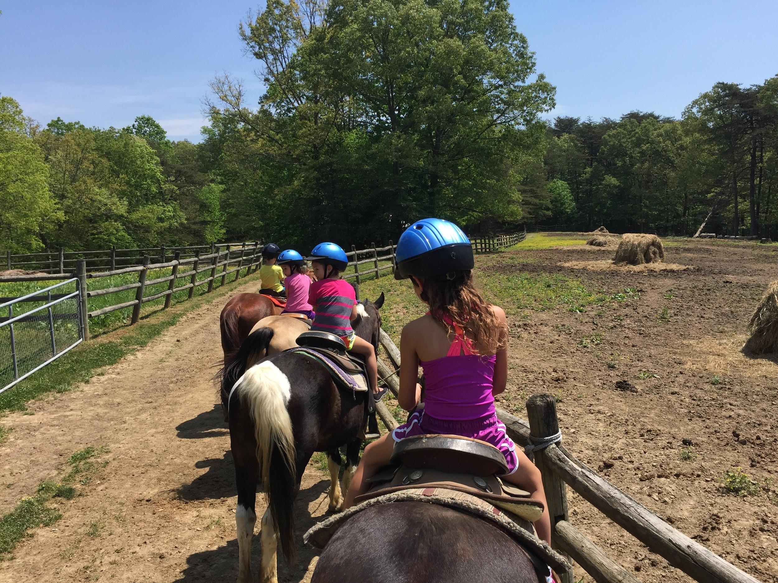 Horseback riding with kids at Fall Creek Falls.