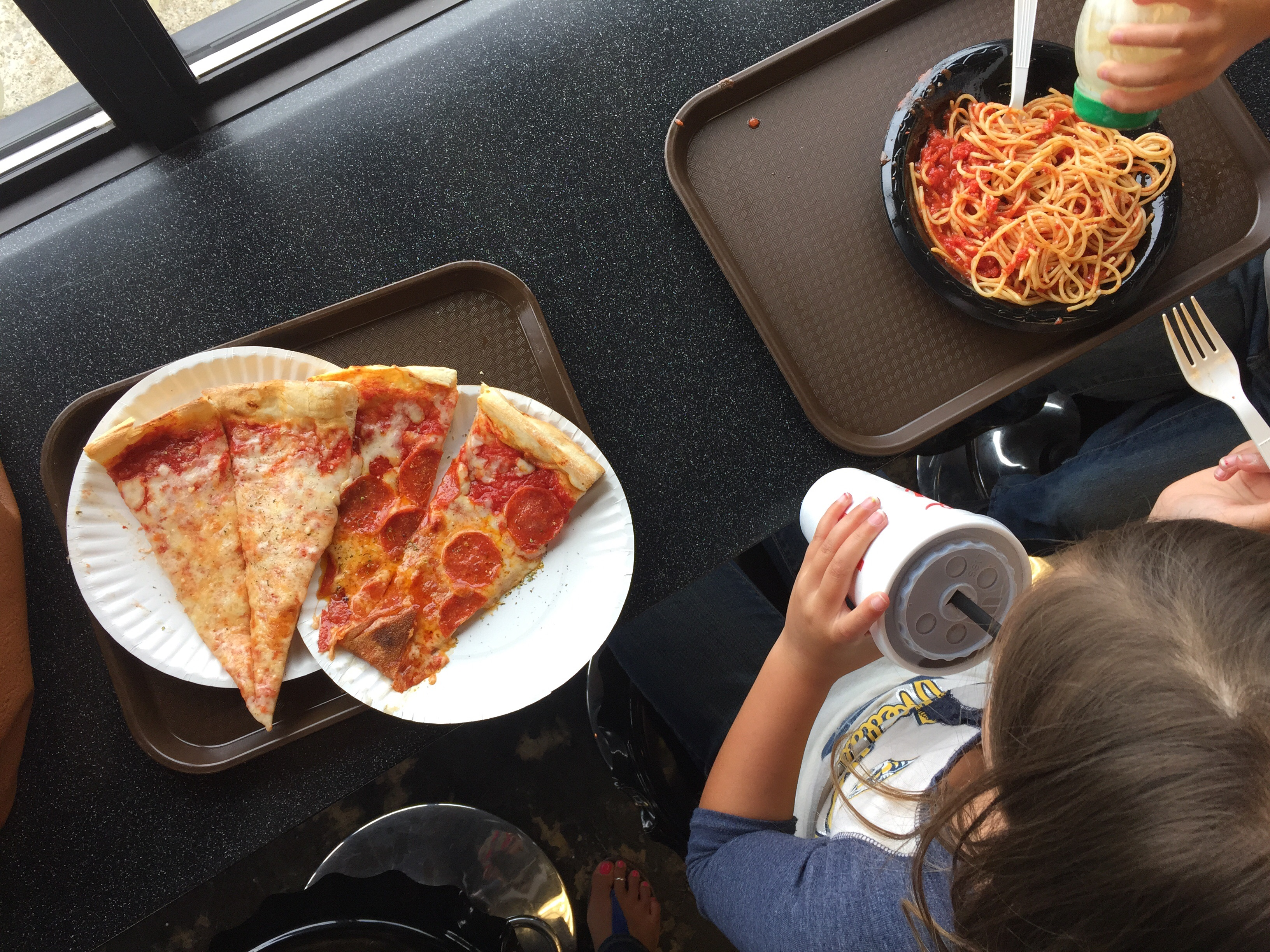 Of course when faced with the Italian array of dishes, my kids choose a cheese slice with a side of spaghetti! #ParentingProbs It's ok. Still yum!