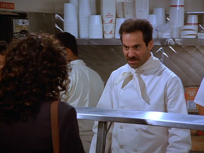 The folks at Joey's are friendly, unlike the Soup Nazi (above) in the episode. There's just not a lot of time to decide what you want. No in-depth discussions about the ingredientsin the lasagna? No waffling over the sausage or veggie slice. You must order. Order quick. Then move along.