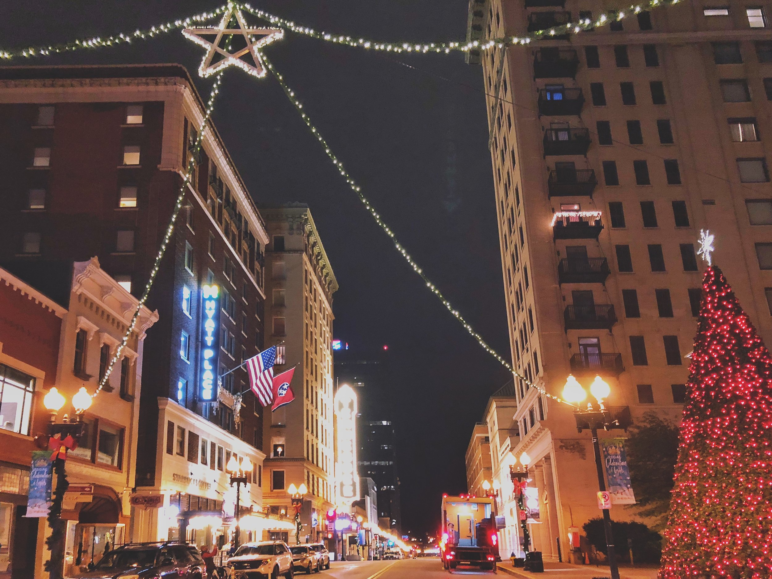 Things to do in Knoxville this Christmas, Downtown Gay Street via  Samantha Nelson Photography