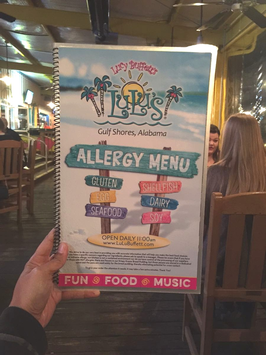Lulu's Gulf Shores, Allergy menu brings such peace of mind to traveling families #thosecrazynelsons