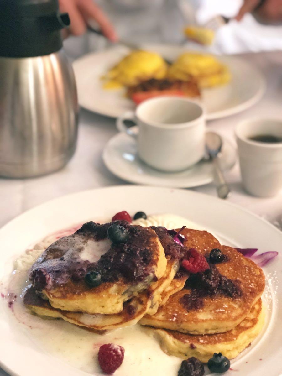 Lemon ricotta pankcakes, room service at West Baden Springs Hotel, French Lick Resort