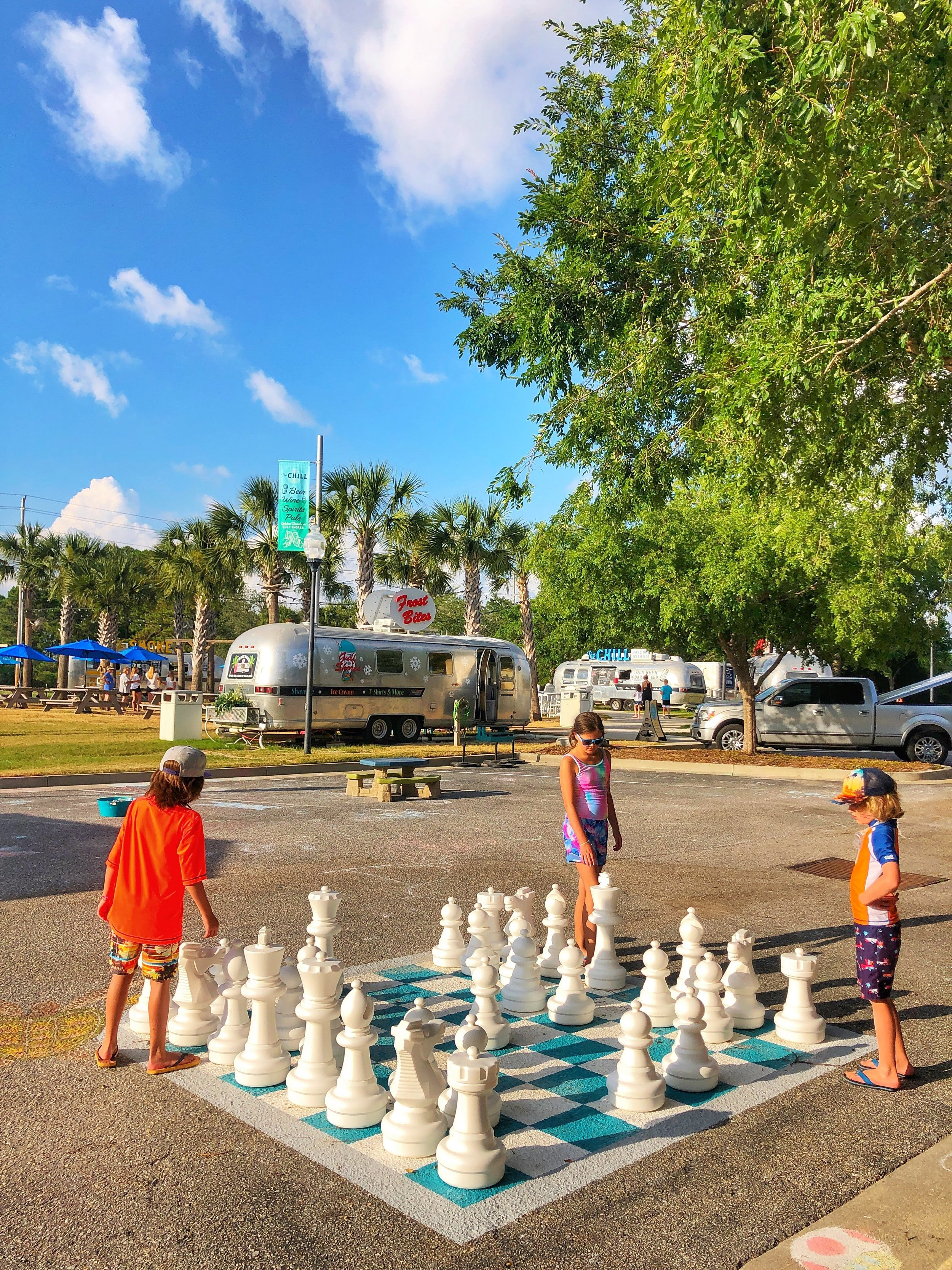 Play at the Village Lawn and eat dinner at one of the food trucks.