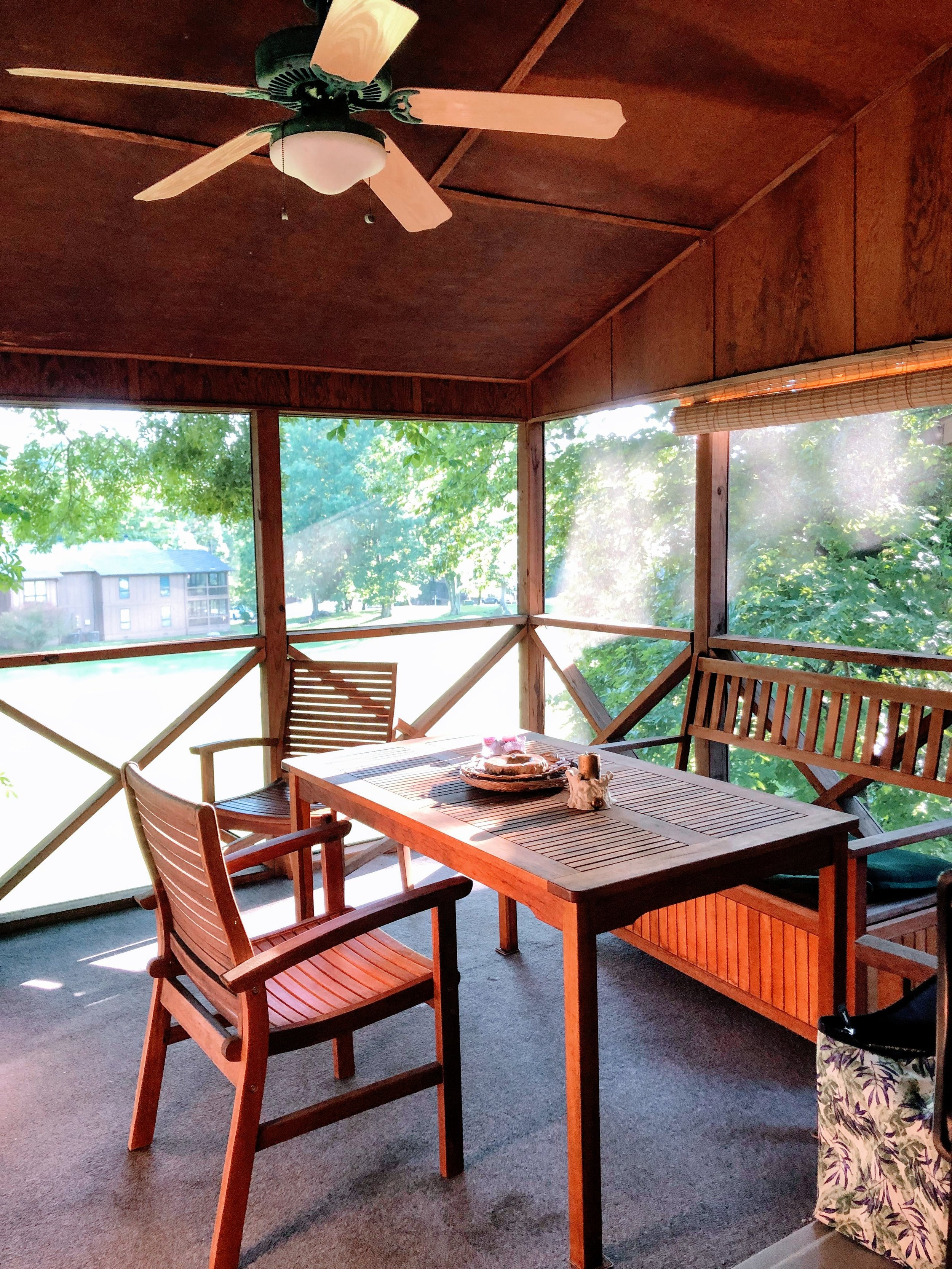 Most rental units have screened in patios, Woodson Bend Resort