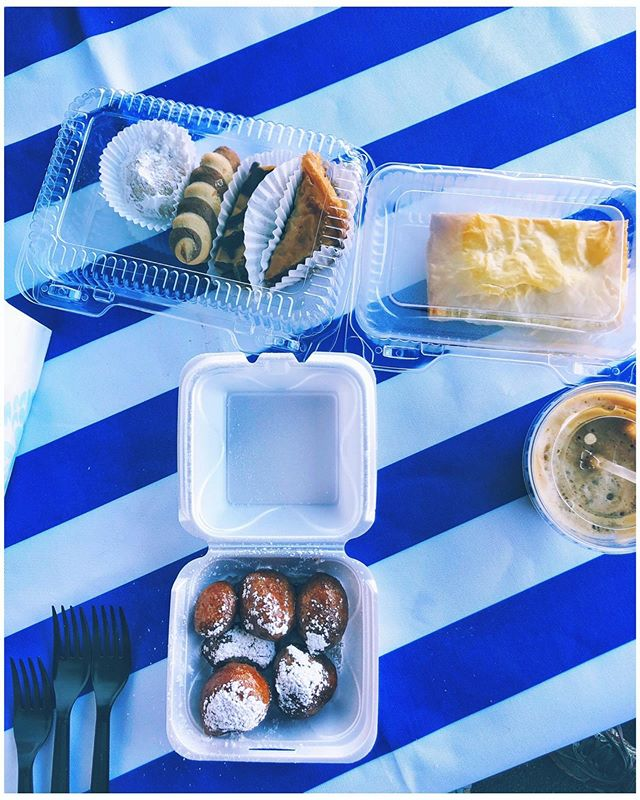 My tastebuds say G R E E C E, but... • • • Today, I'm wishing hard upon a star that I could be eating these scrumptious Greek desserts at a seaside cafe along the Mediterranean. But for now...I'm going to have to use my best travel imagination, because it's a scorcher today in Nashville, TN, at the Greek Festival, and there is zero sea breeze in sight.