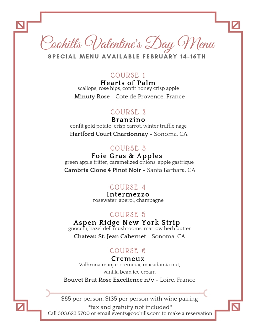 valentine u0026 39 s day dinner menu  u2014 coohills
