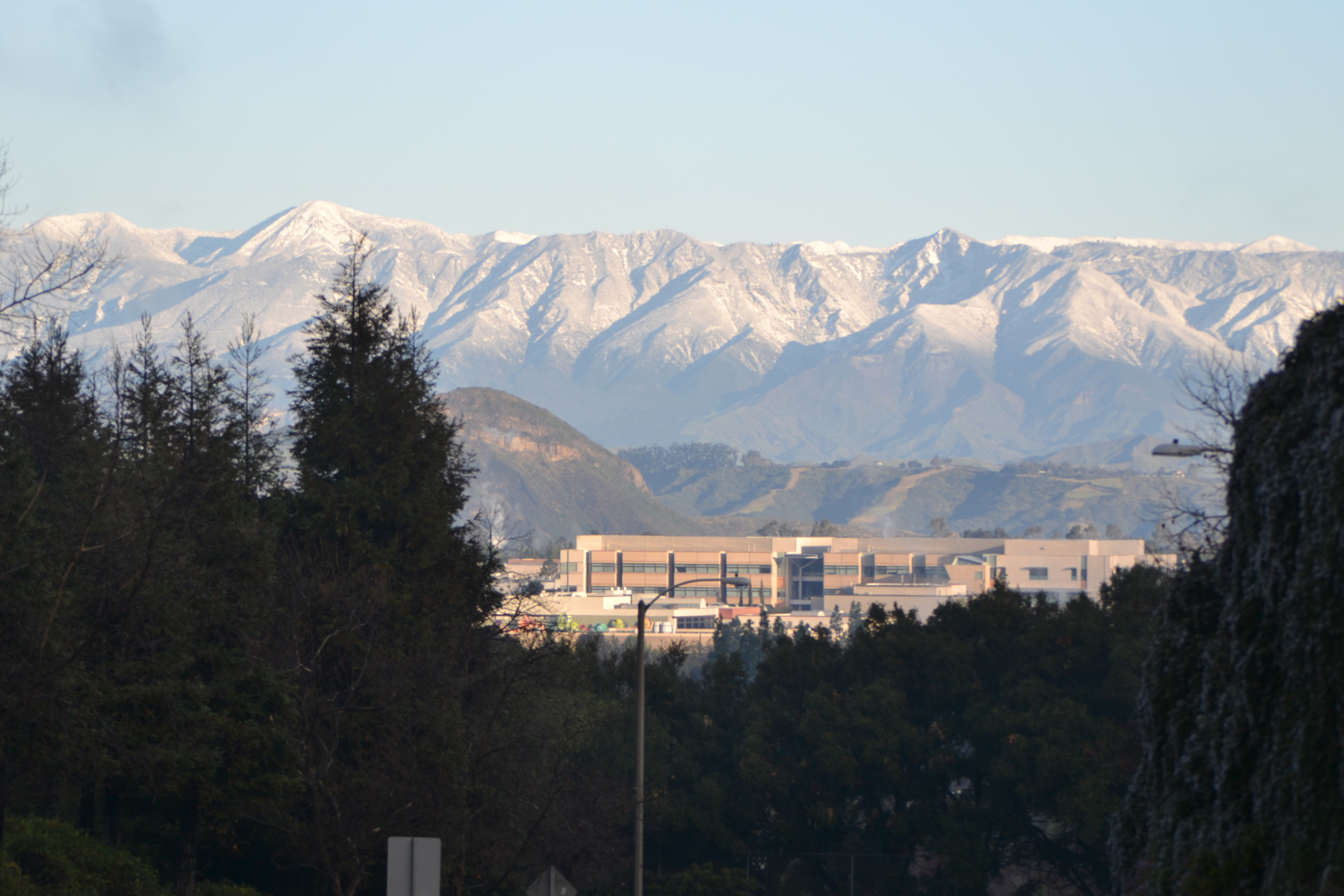 Snow Covering Topa Mountain behind Amgen Campus, Thousand Oaks, CA
