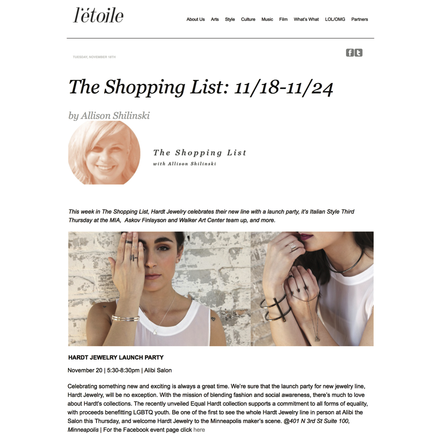 l'toile shopping list - Hardt Jewelry