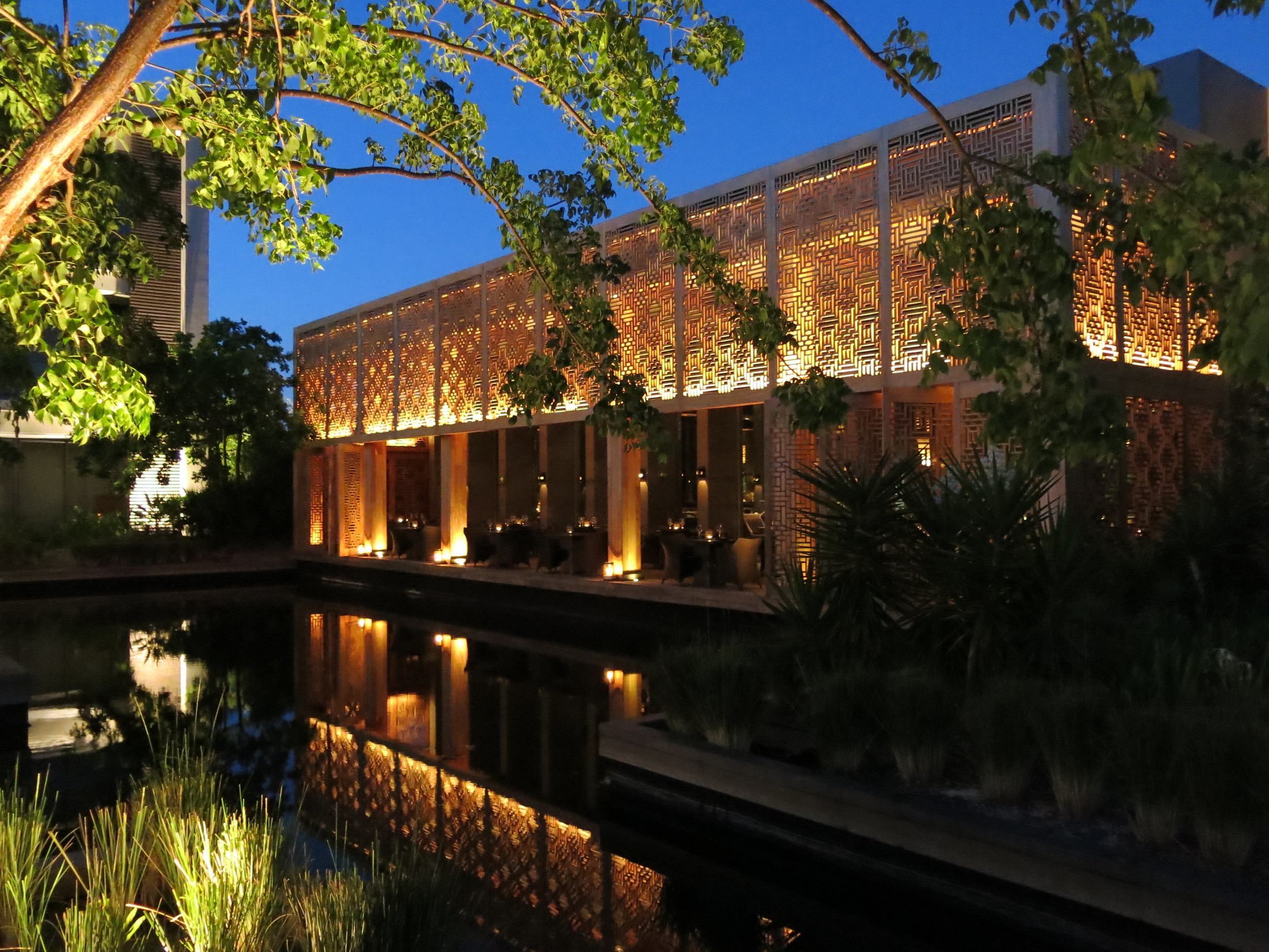Every evening the resort was illuminated and light played on the reflection pools evoking a sense of calm and tranquility.