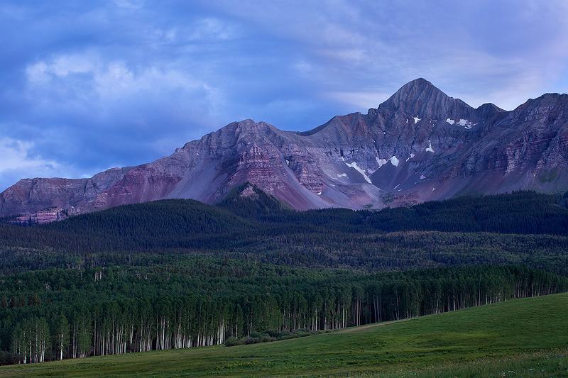 The 14,017 Wilson Peak seen from Silver Pick Basin near Telluride, Colorado