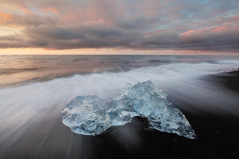 Waves at the black sand beach near Jökulsárlón in southern Iceland