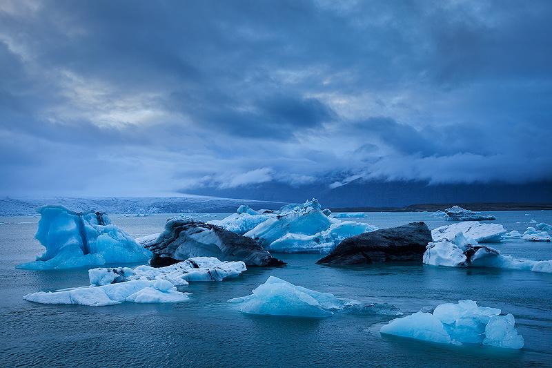 Icebergs in the Jökulsárlón Glacial Lagoon in Southern Iceland