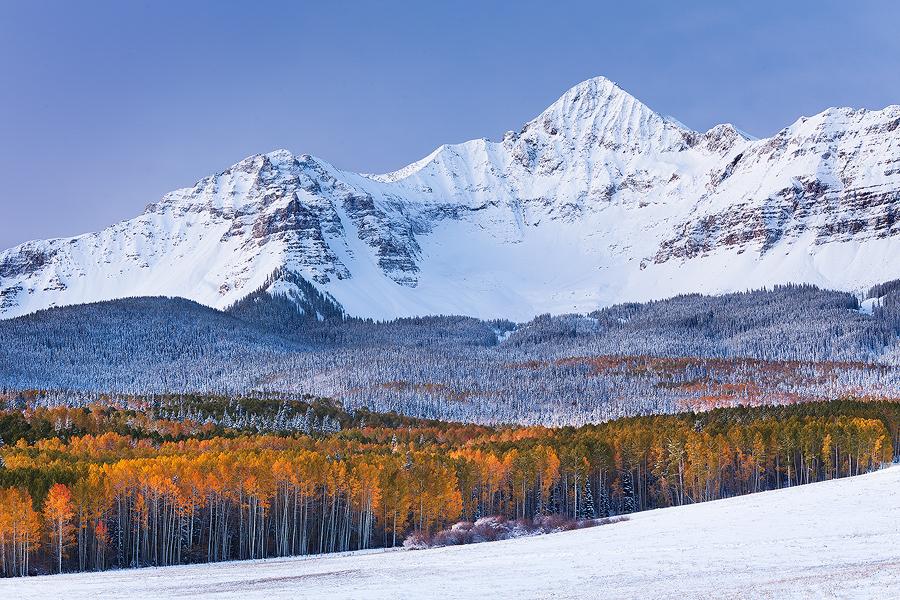 Wilson Peak in Winter, Colorado. Canon 5D Mark II, 70-200mm lens @ 98mm, f/14, 4.0 sec, ISO 100.