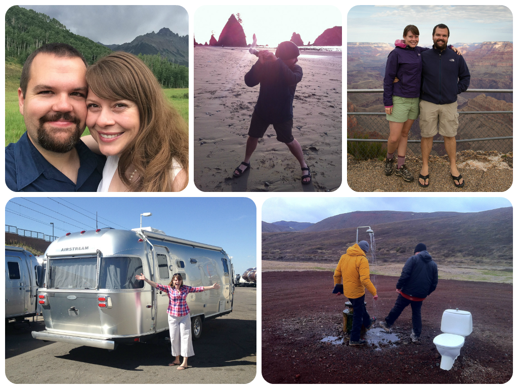 On our wedding day, Driftwood baseball at a backcountry beach in Olympic National Park, Us at the Grand Canyon during monsoon season, our new Airstream ,and that strange geothermal shower in Iceland (weird enough to deserve two photos in this post!)