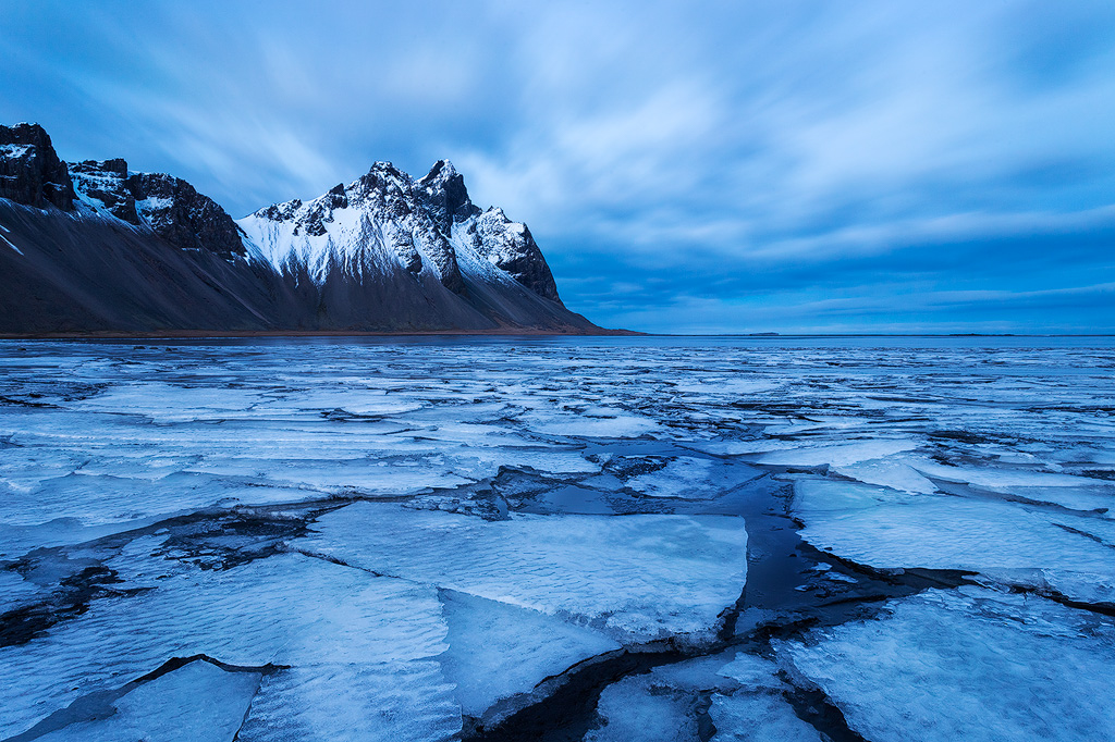 Ice sheets in a tidal flat along the southern Iceland coast.