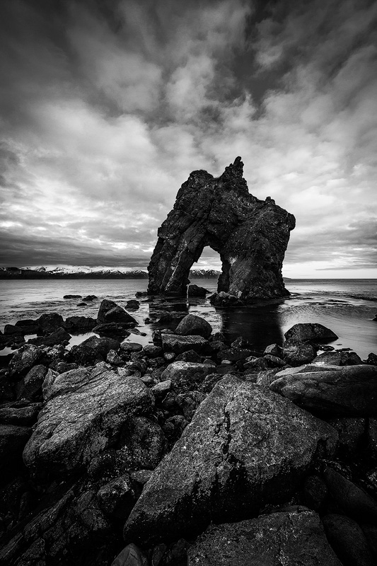 A distinctive seastack in northern Iceland