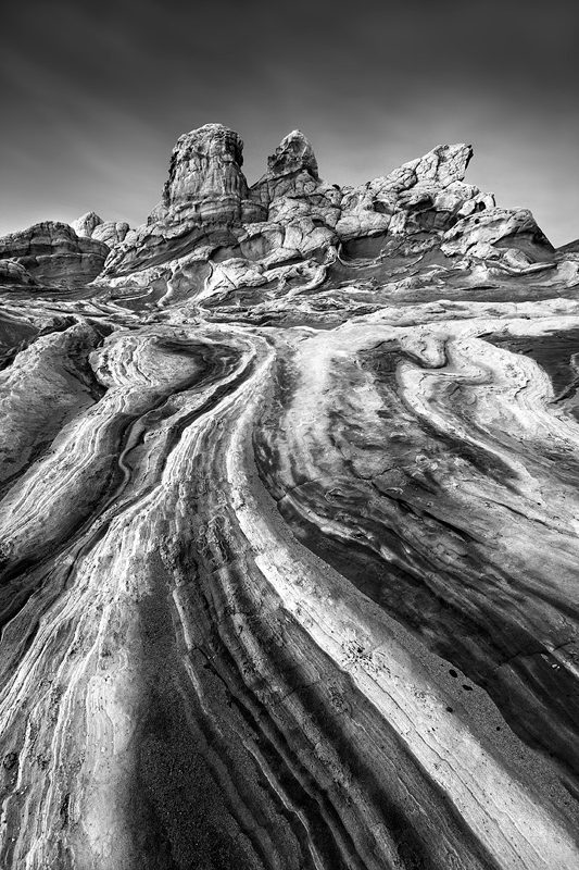 Surreal sandstone in the Vermillion Cliffs National Monument of Arizona.  I processed the color version of this photo a long time ago but think I like it better in black and white (or at least do right now).