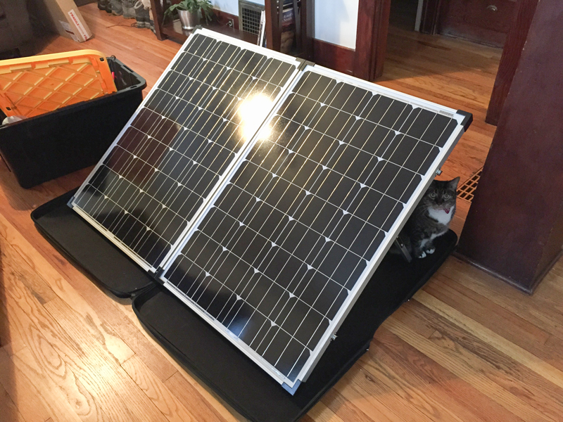 The Zamp Solar 200 watt panel is quite large... curious cat for scale.