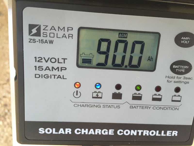 A view of the Solar Controller (can view volts, amps, or cumulative amp-hours). 90 amp-hours for January with a 200-watt panel is great!