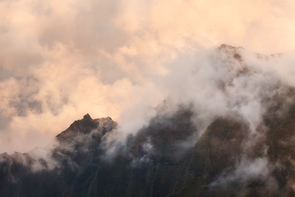 Mist swirling over the Kalalau Valley, Kauai