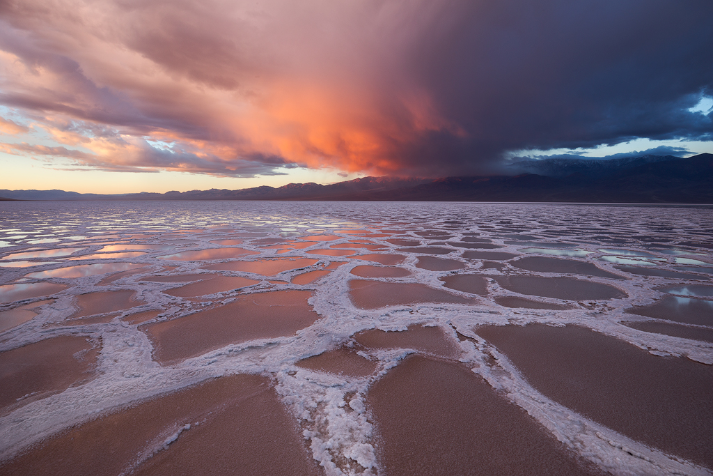 Stormy Sunrise at Badwater Basin, Death Valley National Park. © 2015, Ron Coscorrosa